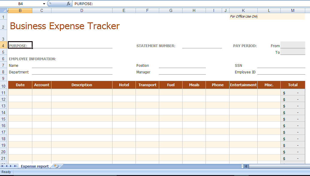 sample expense sheet excel