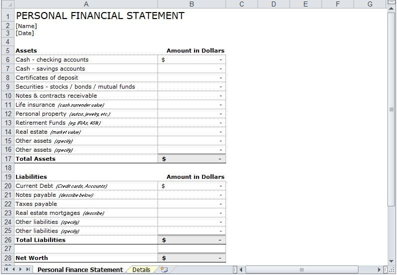 8 Personal Financial Statement Templates Excel Templates – Asset and Liability Statement Template