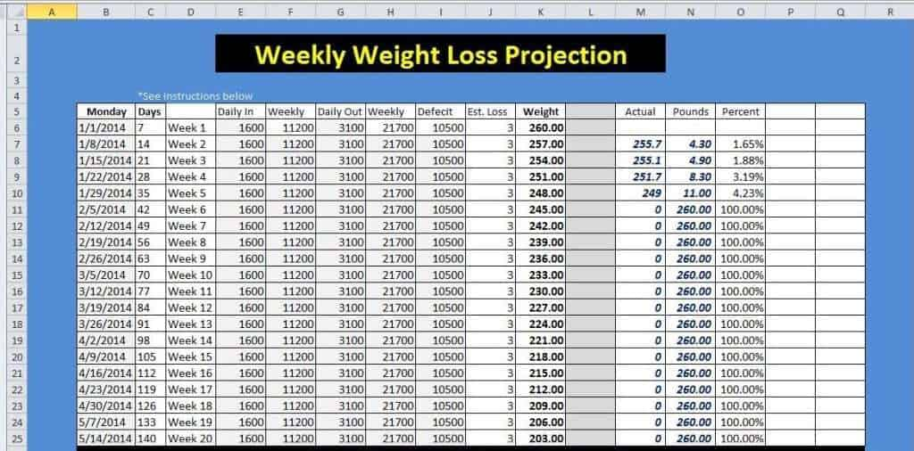 Weight Loss Excel Sheet