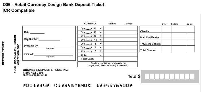 deposit slip template 777