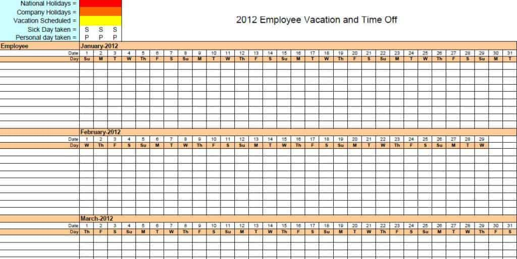 employee vacation tracker template 333