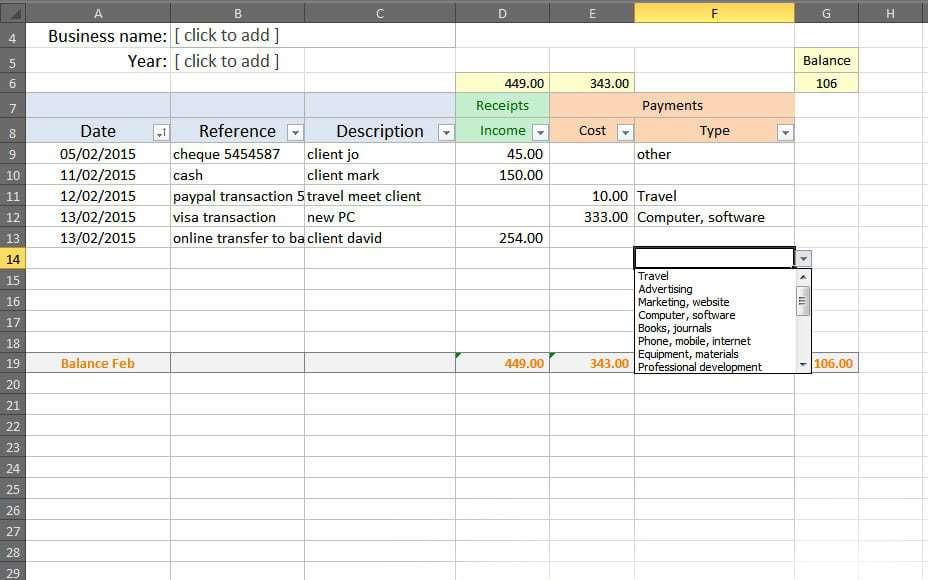 excel bookkeeping worksheet