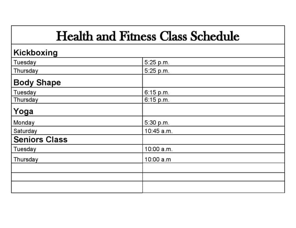 fitness calendar template 888