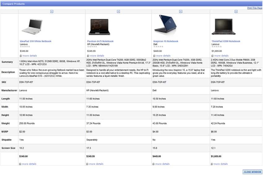 product comparison templat 888