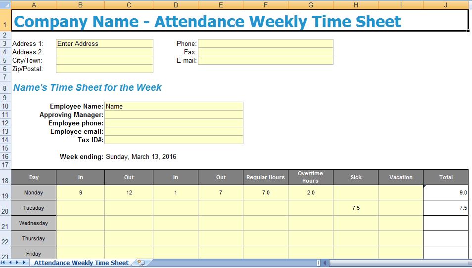 attendance excel 11