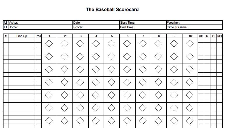 8 printable baseball scorecard templates excel templates