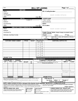 bill of lading template 6214