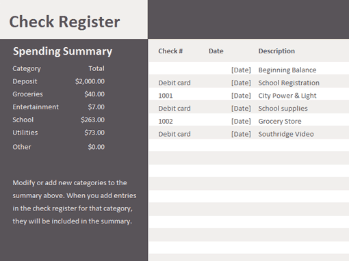 9  excel checkbook register templates