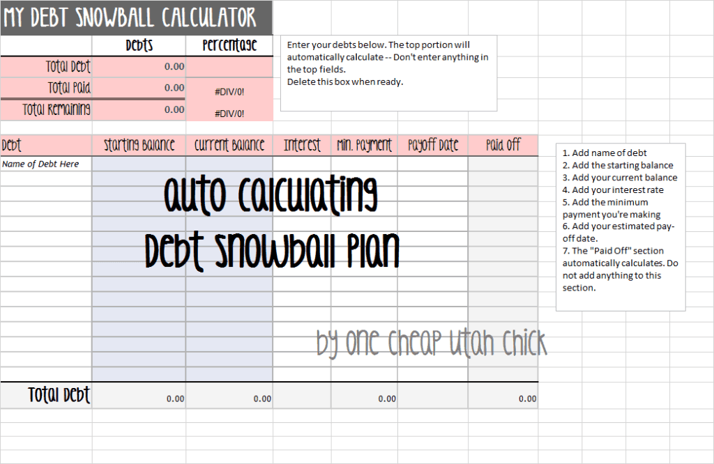 debt calculator template 1014