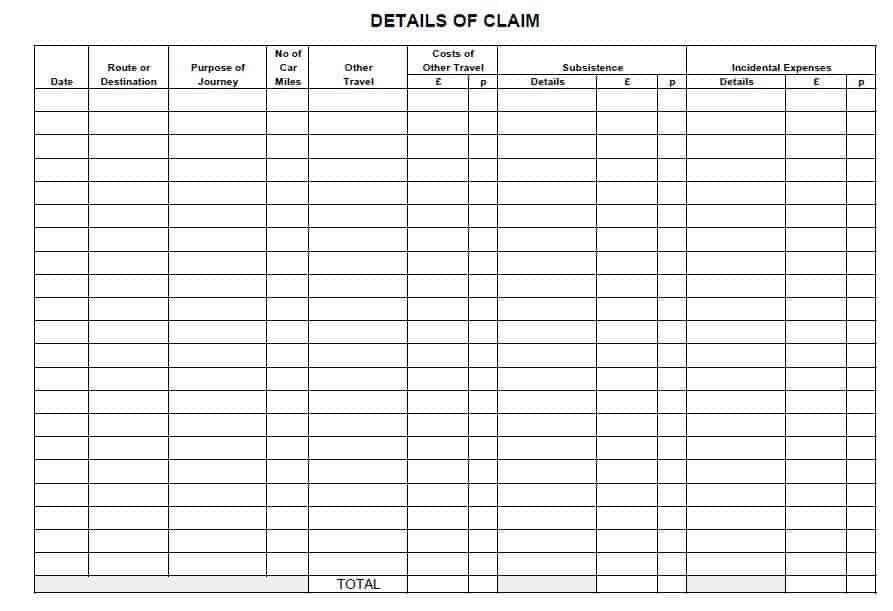 expense claim form template 3664