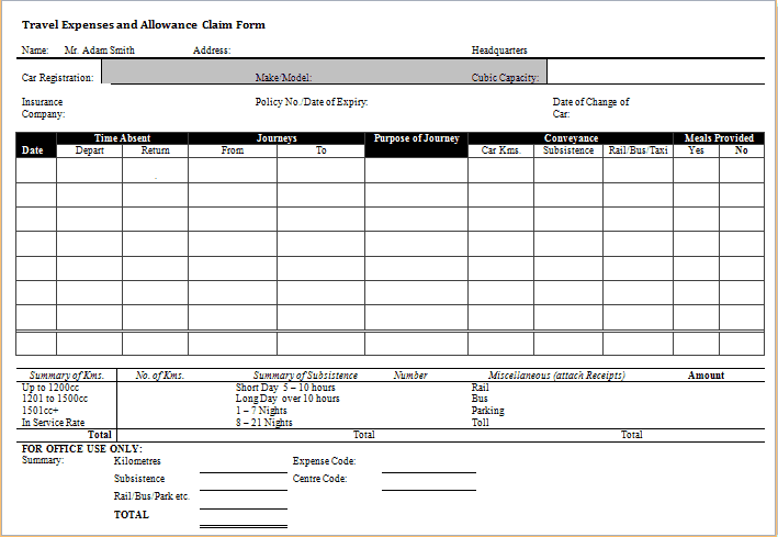 expense claim form template 4551