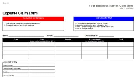 expense claim form template 63311