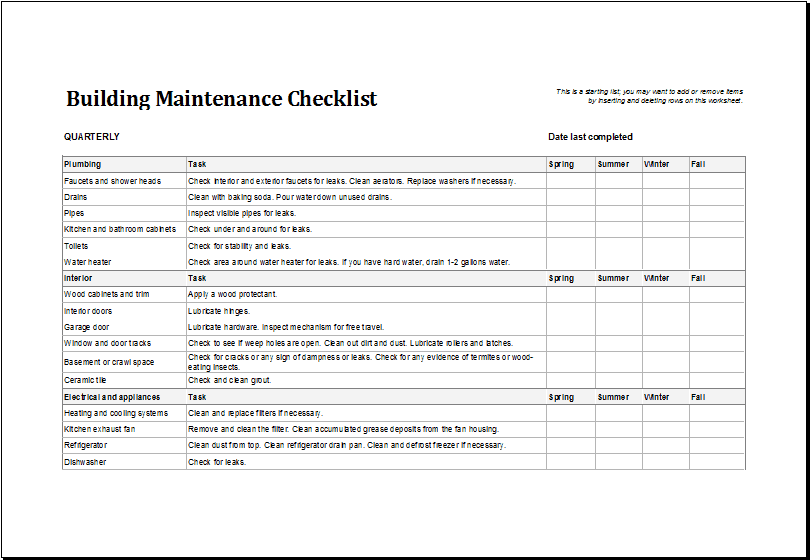 7 facility maintenance checklist templates excel templates. Black Bedroom Furniture Sets. Home Design Ideas