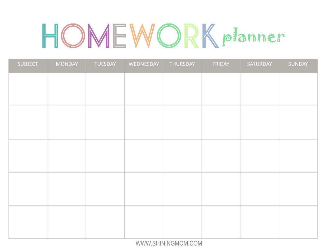 homework calendar template 888