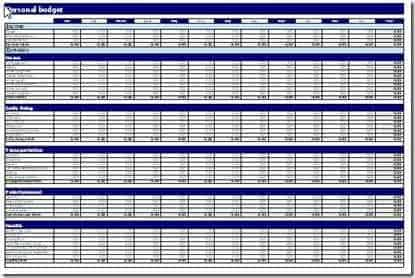 house hold budget spreadsheet template 444