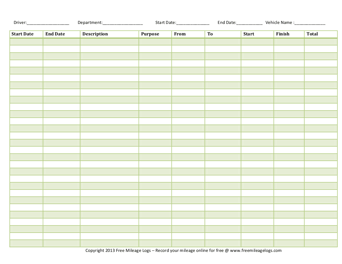 mileage log template 222