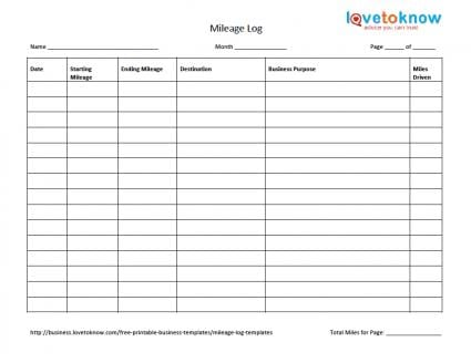 mileage log template 444