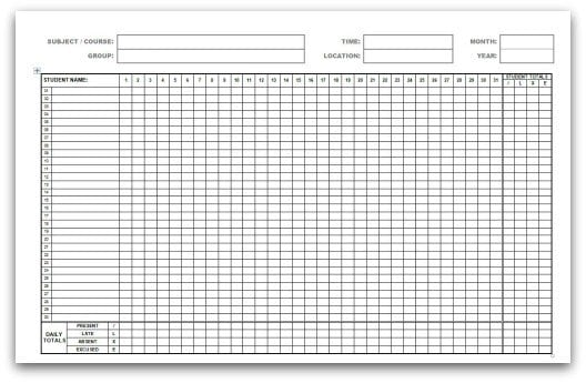 monthly attendance sheet template 333