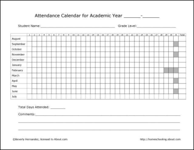 monthly attendance sheet template 444