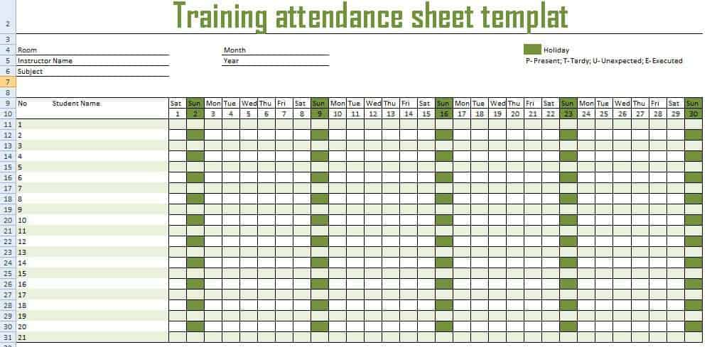 monthly attendance sheet template 999
