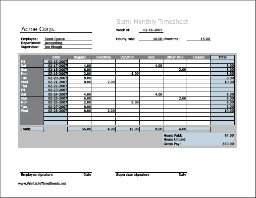 monthly timesheet template 666
