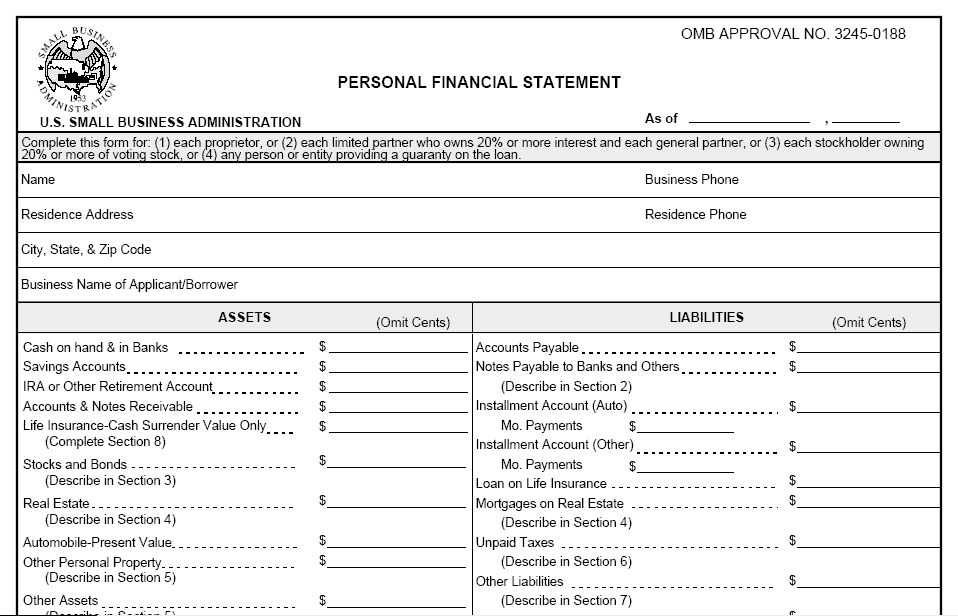 personal financial statement template 1541