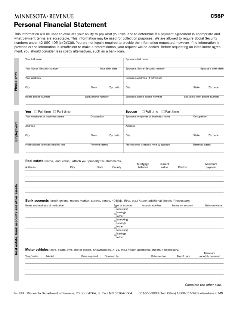 personal financial statement template 25455